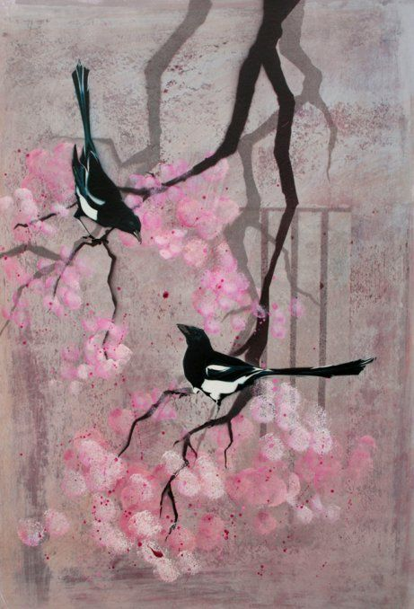 'Two for Joy'  A pair of magpies squabbling in the cherry blossom in the local park.  Acrylic, stencil and spray paint
