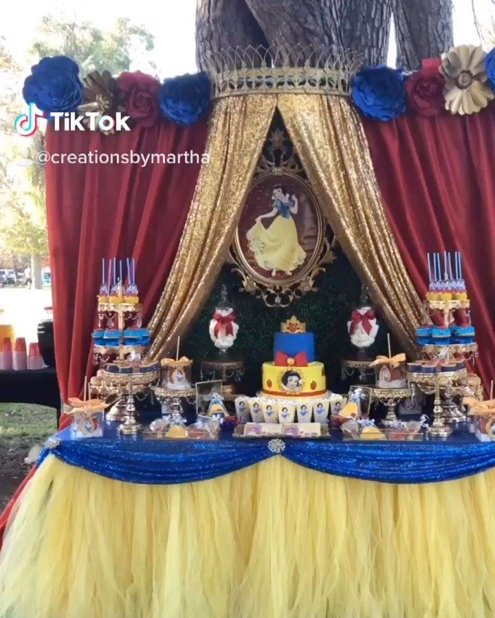 Creations By Martha On Instagram Head To My Tik Tok Y All Set Up By Creationsbymartha Creationsbymart Snow White Party Snow White Birthday Princess Party