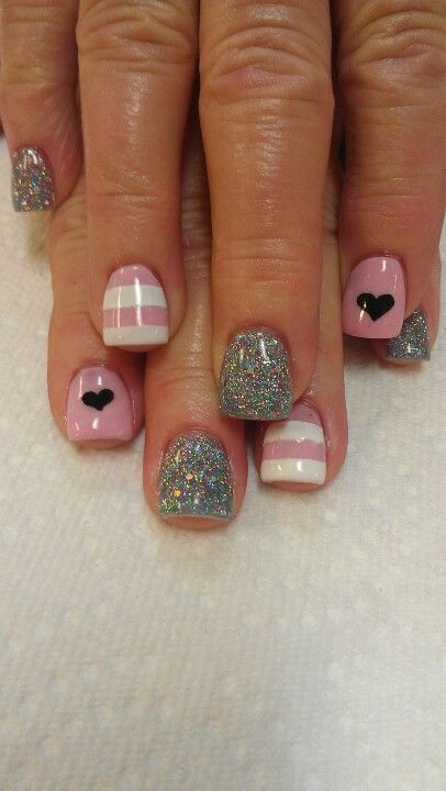 Pink, White, and Grey Glitter with Strips and Hearts Nail Art Design