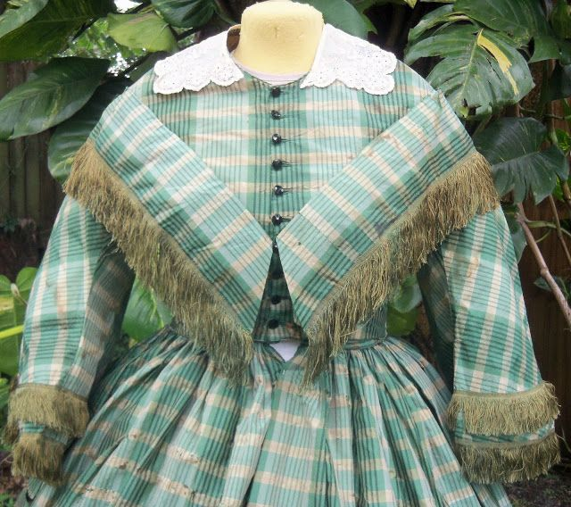 Plaid silk day dress with pelerine, ca. late 1850s.   In the Swan's Shadow