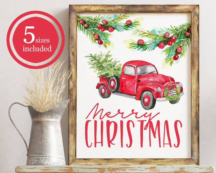 Merry Chritsmas Printable / Merry Christmas Card / Christmas Truck with Tree / Christmas Retro Truck / Printable Holiday Decor / Greenery by BearCreekDesignCo on Etsy