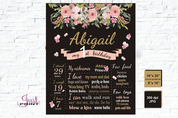 floral first birthday chalkboard floral poster board pink gold