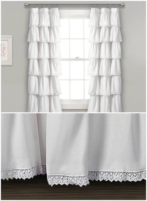 White Ruffle Curtain Panel Set Of 2 Ruffle Curtains Panel