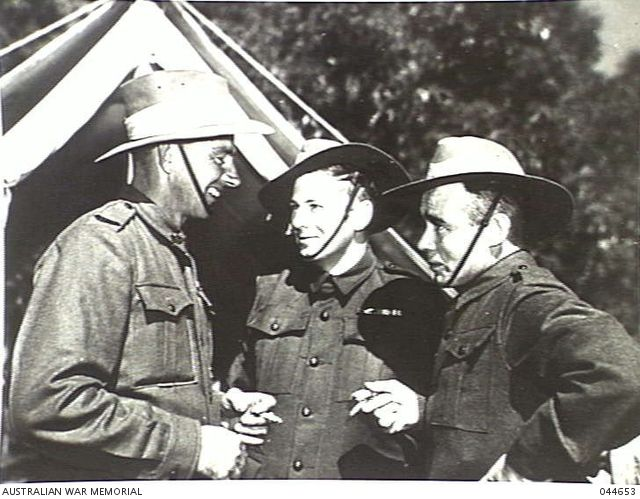 Three members of the Australian Army who were awarded the Victoria Cross for bravery in the Pacific Theatre. From the left they are Sergeant Reginald Rattey, Privates Frank John Partridge and Richard Kelliher. (Donor R. Rattey) 044653 | Australian War Memorial
