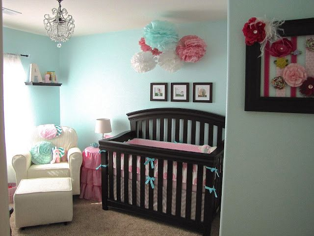 Nursery colors aqua pink with brown furniture baby Baby room themes for girl