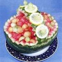 Watermelon Fruit Basket Recipe *-*-*-*-* The closest thing I could find to the recipe I found in Taste of Home over ten years ago.  I don't do the garnish, but I do put lime juice in it w/ the zest of a lime as well.  I like it to marinate overnight in the juices.  It's yummy.