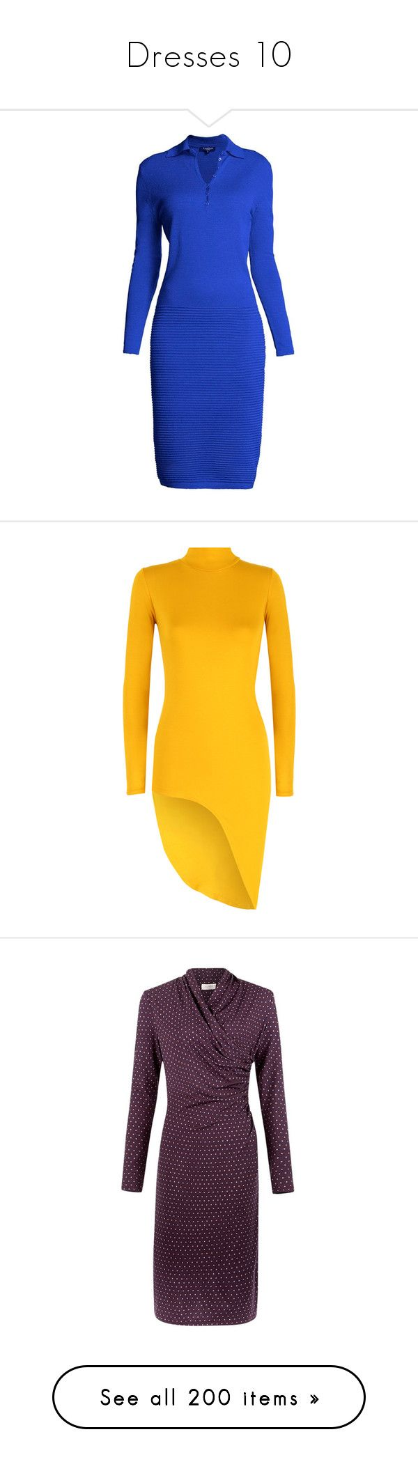"""Dresses 10"" by caili ❤ liked on Polyvore featuring dresses, ribbed dress, rib dress, slip on dress, blue dress, woven dress, mustard, special occasion dresses, holiday dresses and long sleeve turtleneck dress"