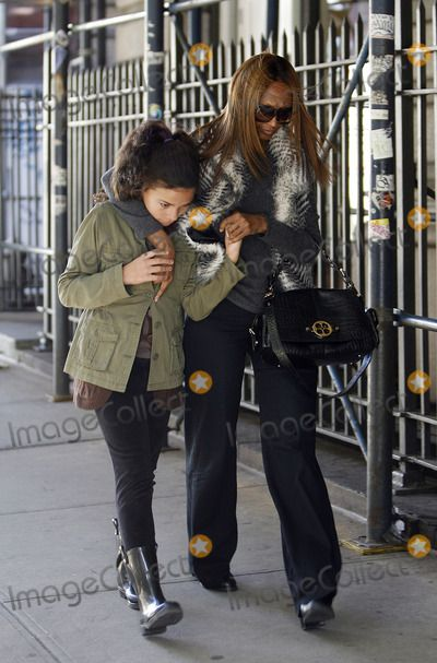 Photos and Pictures - Model Iman and her daughter Alexandria Zahra Jones walking in Soho on November 4 2011 in New York City