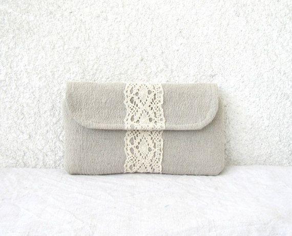 Linen lace Clutch purse flap magnetic closure by HelloVioleta, $30.00