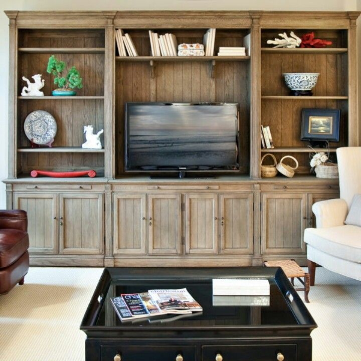 Built in entertainment center- but i would still mount the tv so that it is floating