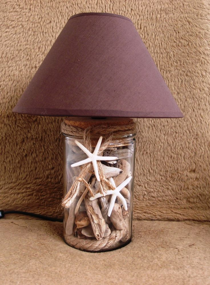 driftwood Lamp..φωτιστικό-πορτατίφ γυάλα με θαλασσοξυλα σχοινί, & αστερία