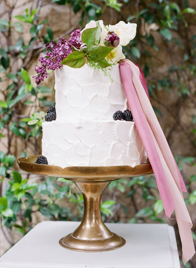 Two tiered textured berry topped wedding cake: http://www.stylemepretty.com/2017/03/17/berry-palette-san-ysidro-ranch-wedding/ Photography: Joel Serrato - http://joelserrato.com/