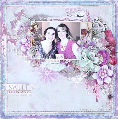 Gerry van Gent created this beautiful layout with the Penelope Dee Tea Time collection.