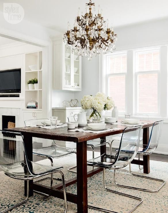 Rustic trestle table, Ikea Tobias chairs, gilt chandelier | Style at Home