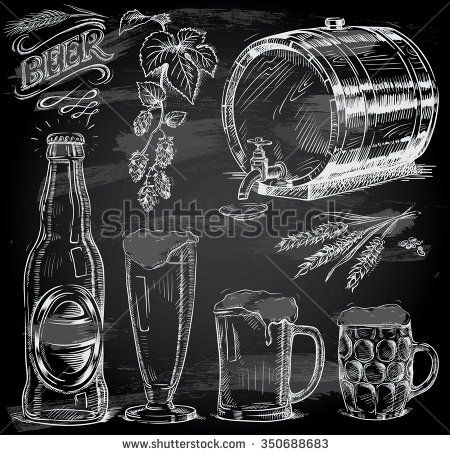 hand drawn beer set on chalkboard - stock vector