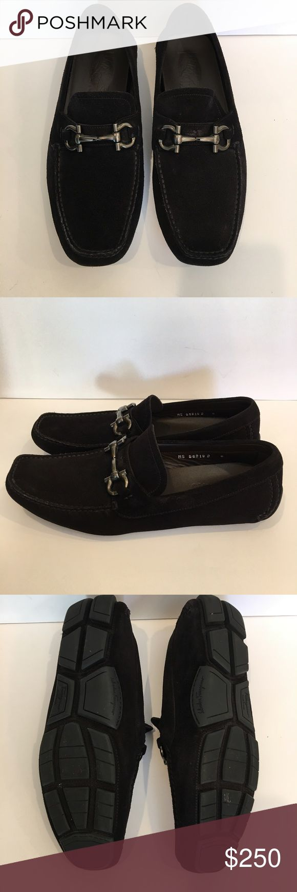 Men's Salvatore Ferragamo black suede loafers Black suede square toe loafers with gunmetal hardware. Very good condition. Salvatore Ferragamo Shoes Loafers & Slip-Ons