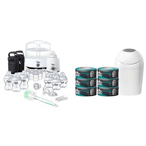 From 74.99 Tommee Tippee Complete Feeding Set (closer To Nature) With Sangenic Tec Nappy Disposal Starter Pack Bundle