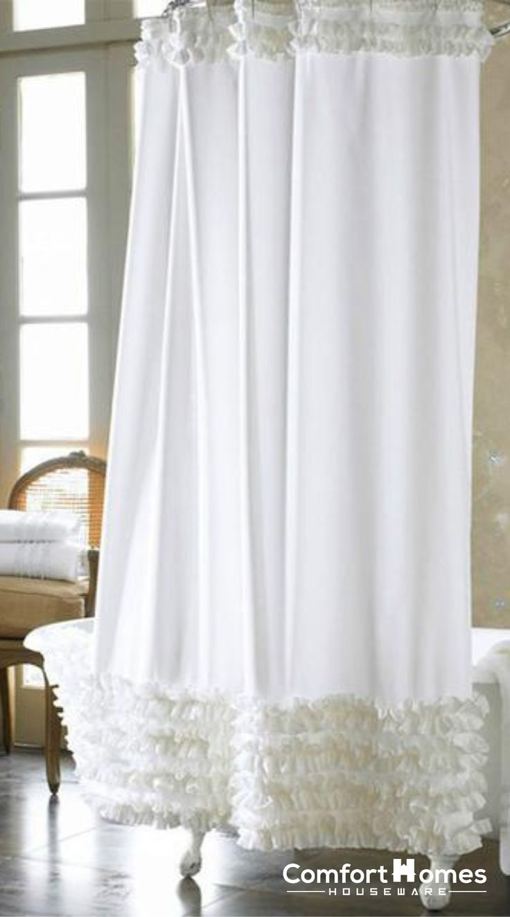 White Luxury Shower Curtain With Ruffles 2019 Shower Diy