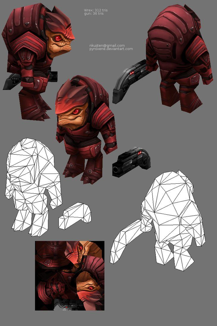 Lowpoly Wrex by ~Pyroxene on deviantART