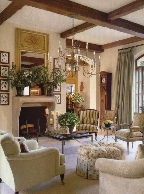 Beautiful French Country Living Room - i want these beams