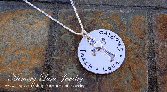 Religious Teach Love Inspire - Christian Teacher Necklace - Teacher Appreciation - End of School Year Gift - Catholic Teacher Gift
