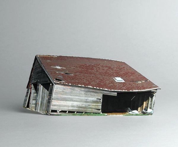Miniature Paper Sculptures of Abandoned Houses
