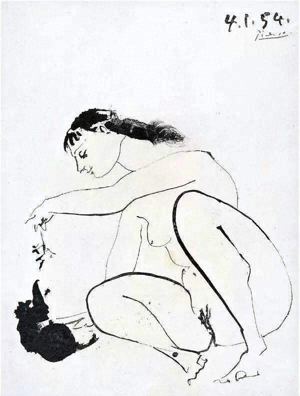 Pablo Picasso, Femme et chat, 1954