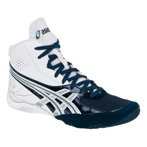 Men's ASICS Cael V4.0 Wrestling Shoe - White/Navy 11 $84.99