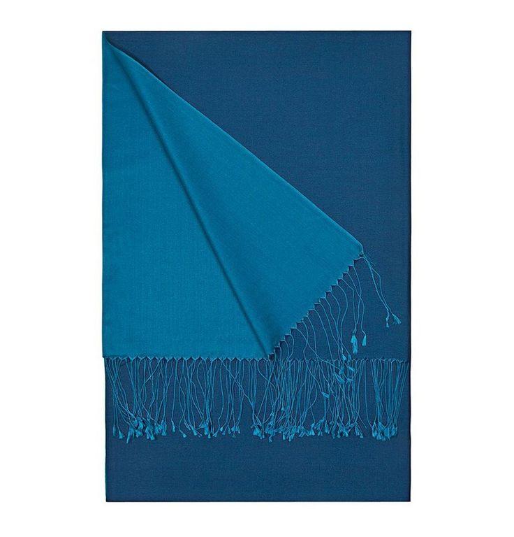 Aker Double-Sided Silk Shawl #357 Blue