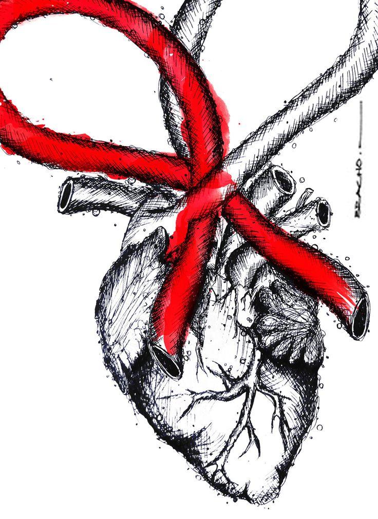 A veces se te hace un nudo en la garganta, y otras veces en el corazón... #heart #heartbroken #diamundialdelcorazon #illutration #ink #anatomic #art #handdrawing #corazon #love #amor #tinta #anatomico #arte #dibujo #ilustracion #rojo #red #blackandred #negroyrojo #worldheartday