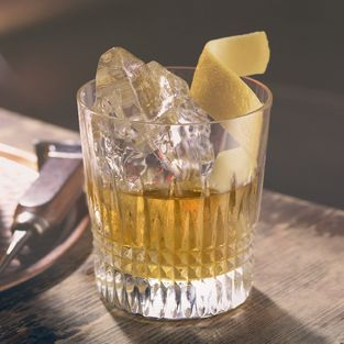 Rusty Nail  Ingredients:  ~1part Drambuie ~1 Large rock of ice ~1 individual Lemon Twist ~2 parts Scotch Whisky