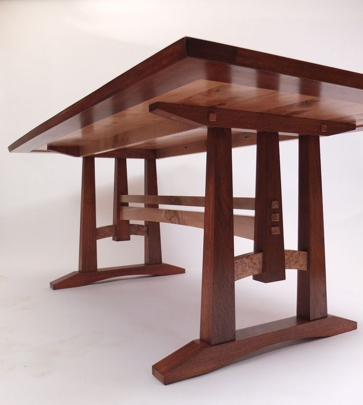 Custom Made Oak And Burl Maple Dining Table
