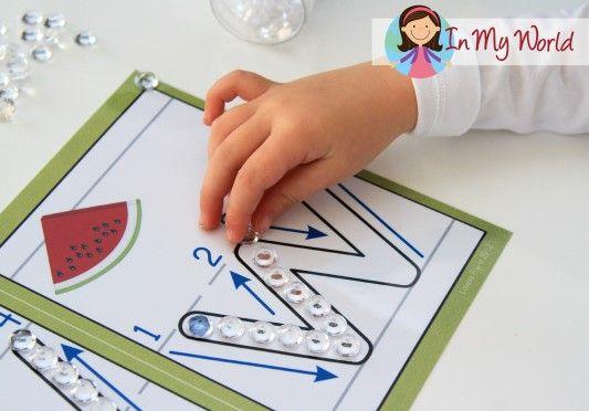Preschool Letter W play dough mats. Use small gems or beads for fine motor development.