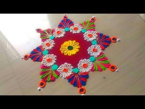 How to make easy and simple/unique border rangoli designs by Jyoti Rathod,rangoli,festival rangoli d - YouTube