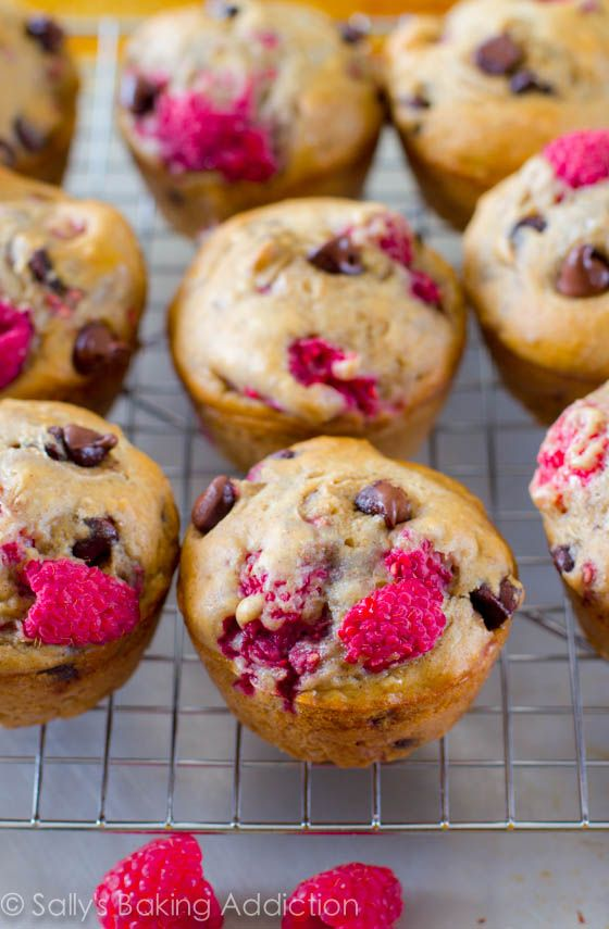 Skinny Raspberry Chocolate Chip Banana Muffins. Made with bananas, yogurt, whole wheat flour, and honey. Easy, moist, low-fat, healthy muffins!