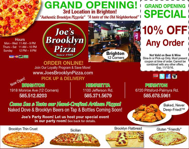 Joe's brooklyn pizza calories
