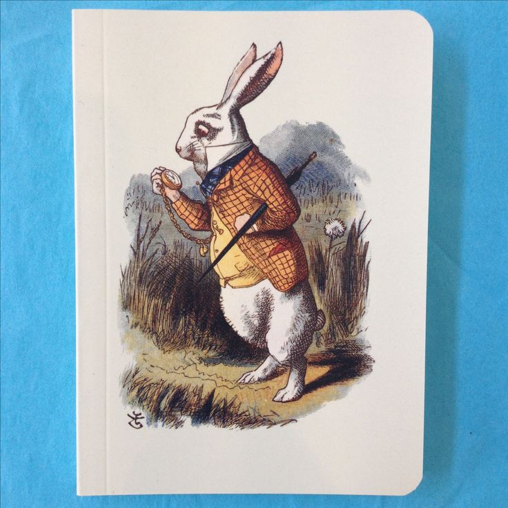 White Rabbit notebook featuring Sir John Tenniel's 1865 illustration from Alice's Adventures in Wonderland.
