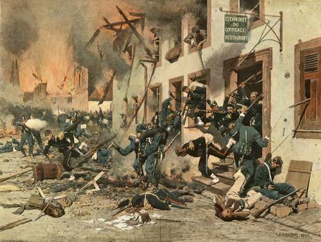 Deutsch-französischer Krieg 1870/71 Schlacht bei Sedan am 1. September 1870: Die Bayern stürmen zum zweiten Mal das stark besetzte Bazeilles