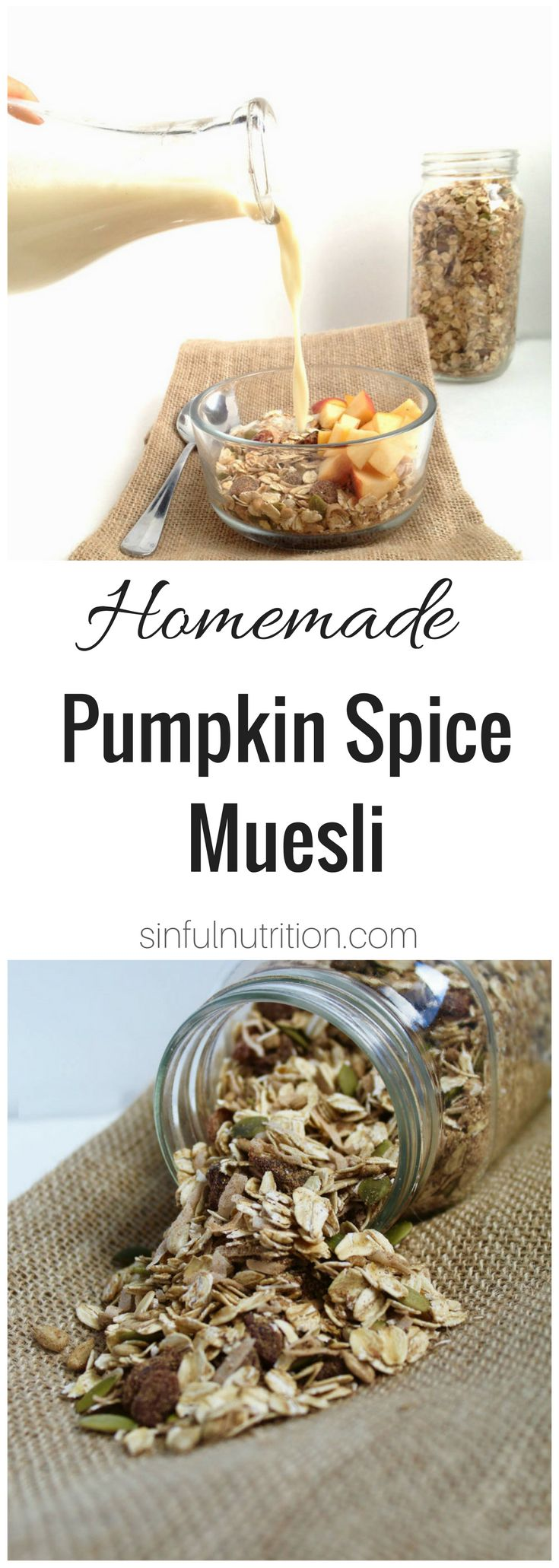 Pumpkin Spice Homemade Muesli Recipe -- A healthy no-cook breakfast made with oats, pumpkin seeds, coconut , and pumpkin pie spice. Perfect for fall! | @sinfulnutrition www.sinfulnutrition.com