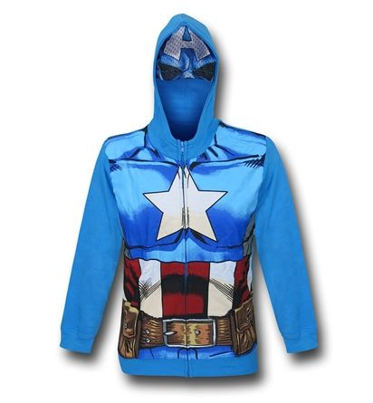 The Captain America Costume Kids Zipper Hoodie with Mask will channel the spirit of Marvel's First Avenger!  Come and take a look at the power! They'll love it!