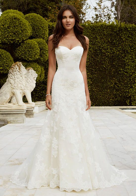 With a sweetheart neckline on a soft satin bodice with corded lace appliques and…
