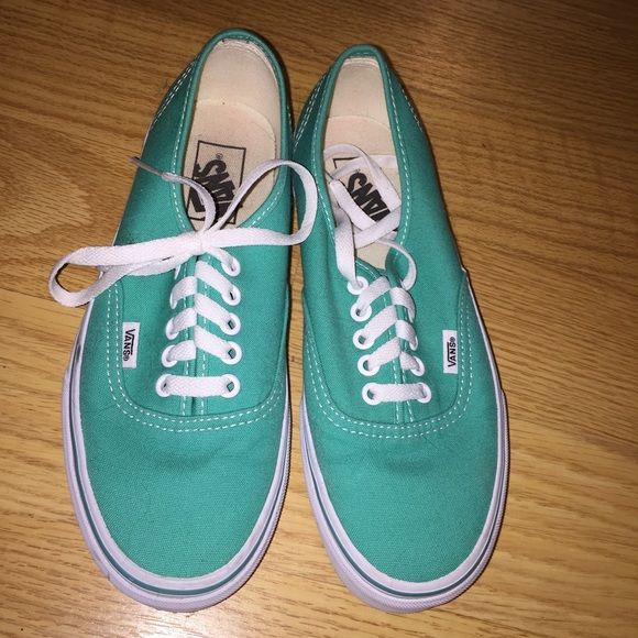 Waterproof!! mint green vans Mint green vans only worn once. In perfect condition!! Sprayed with the water and stain shield by vans. Vans Shoes Sneakers