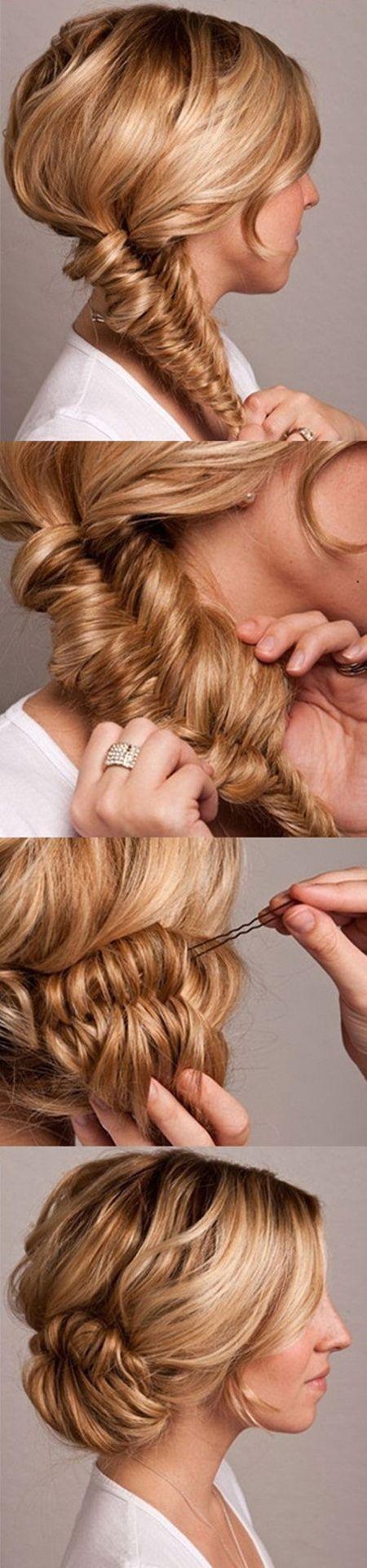 The Fishtail Bun | #Pinterest #Tutorials #pony #hairinfographic #hairtutorials #braids #styles #beautyhacks #hair #hairstyle #DIY