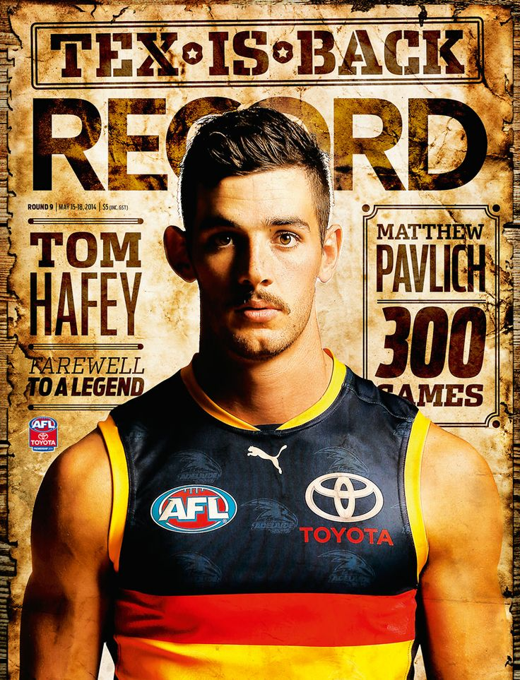 2014 AFL Record Round 9 | Adelaide Crows Tex Walker | Publication Cover