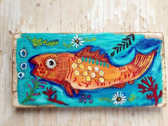 Whimsical Fish Folk Art on Reclaimed Wood by evesjulia12 on Etsy, $58.00