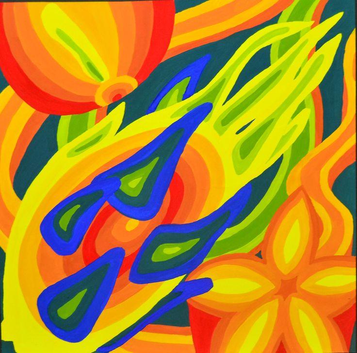 Dragonfruit, onion, and starfruit composition_Gloria paper_Poster colour