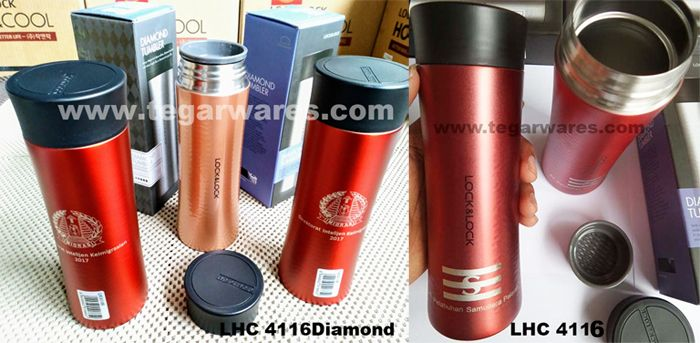 A Lock & Lock Tumbler Diamond Series LHC 4116 Capacity 300ml. Color: Brown, Blue, Silver, Black and Red      Celebrate your feminine-themed event with exclusive souvenirs a Lock & Lock LHC 4116 tumbler. A feminine design LHC 4116 ideal for woman officials merchandise in government agencies, Association of Women or organizations. As shown above: a LHC4116 maroon red ordered by Direktorat Intelijen Keimigrasian Kementerian Hukum dan Hak Asasi Manusia (Kemenkumham), Jakarta Indonesia.