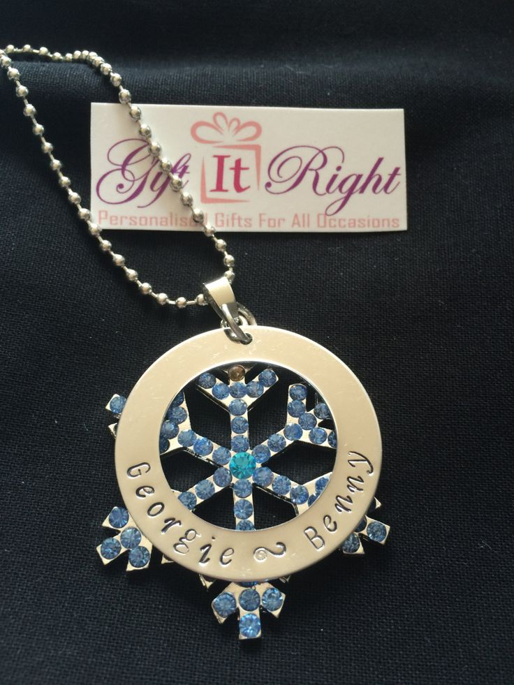 Frozen snowflake Personalised Hand Stamped Necklace by Giftitright on Etsy
