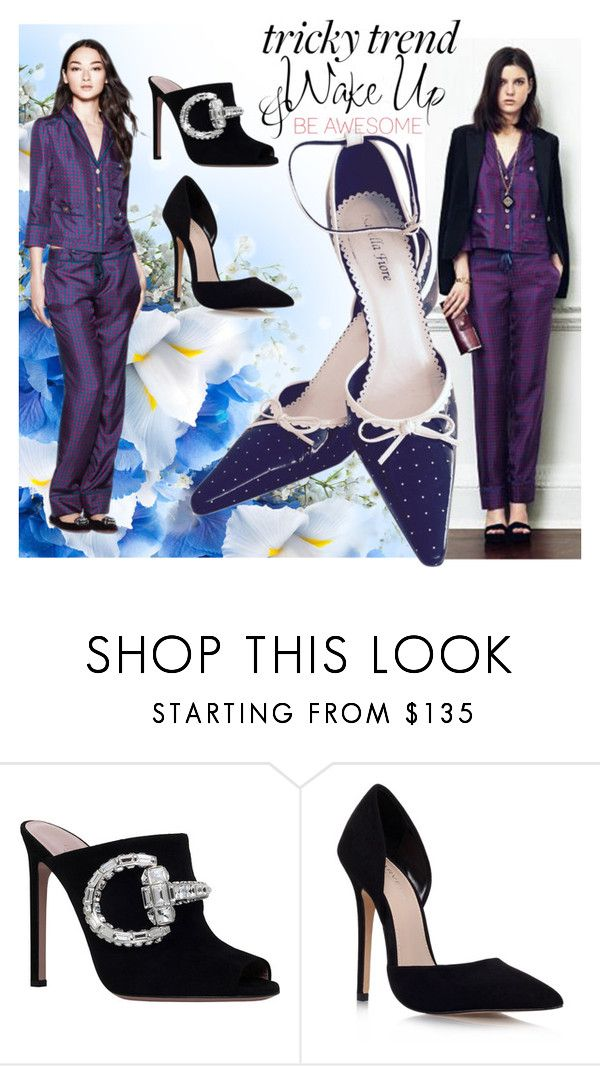 """Tricky Trend: Daytime Pajamas"" by victoria-ronson ❤ liked on Polyvore featuring Gucci, Carvela Kurt Geiger, Isabella Fiore and WALL"