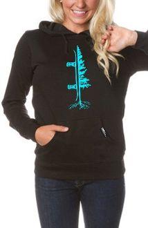 Women's Tree Boarder Hoodie - Black/Neon Blue The Reason I Snowboard